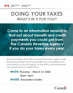 Taxes: Information Session @ Recreation Centre